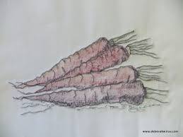 inking painting and thread sketching stitching the carrot studies