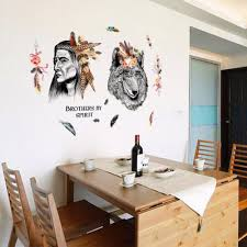wolf wall stickers sticker creations indian style wall stickers creative chief tribal and wolf wall