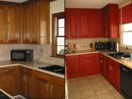 before and after refinishing kitchen cabinets painted kitchen