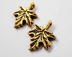 gold leaf charm etsy