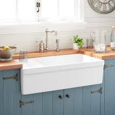 36 Gallo Fireclay Farmhouse Sink With Drainboard White Kitchen