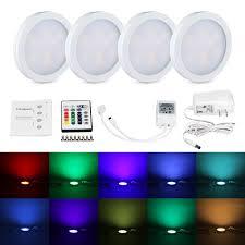 rgb led puck lights 4pcs rgb led kitchen counter under cabinet puck lights lighting kit