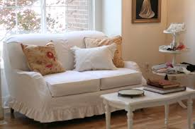 slipcover for camelback sofa white denim loveseat with ruffled skirt slipcovers by shelley