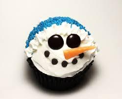 blue christmas snowman cupcake