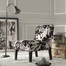 Eddie Accent Chair Black And White Faux Cow Hide Fabric Accent Chair By Inspire Q