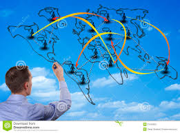 England On The World Map by Man Drawing On A World Map On A Glass Wall Stock Photo Image