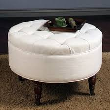 White Storage Ottoman Storage Ottoman With A Tangerine Tufted Top Product