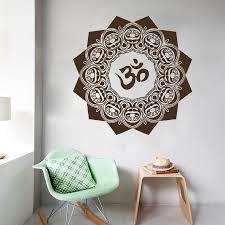 free shipping cool wall art decal yoga mandala om indian buddha wall decals mandala yoga om symbol indian decal vinyl sticker home decor 22inx22in