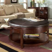 round brown leather storage ottoman small stool cube tufted side