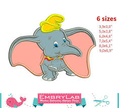applique dumbo baby elephant machine embroidery embrylab