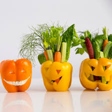 bell pepper jack o u0027lanterns with vegetables and dip recipe myrecipes