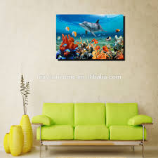dolphin coral reef painting art modern digital printing canvas