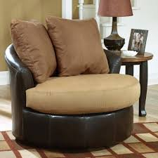oversized round swivel chair living room cool oval brown leather