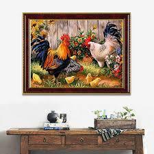 chicken home decor 14x18 inches 5d diamond painting garden chicken coop cross stitch