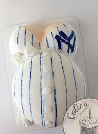 baby belly cake sports theme new york yankees jersey cake