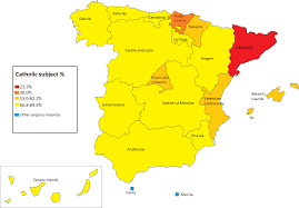 The Map Of Spain by Percentatge Of Students In Spain Attending To The Catholic
