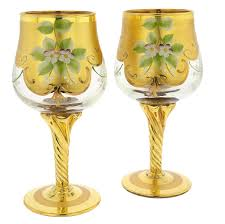 set of two murano glass wine glasses 24k gold leaf transparent