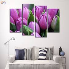 4 pcs home decor purple tulips oil painting on canvas wall art 4 pcs home decor purple tulips oil painting on canvas wall art gift hd print waterproof canvas picture no framed by jyj pt0169 in painting calligraphy