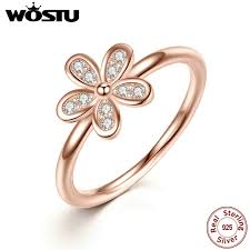 wedding ring brand wostu brand 100 925 sterling silver gold color dazzling