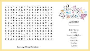 photo baby shower crossword puzzles print image