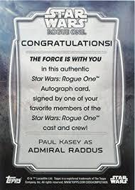 Star Wars Congratulations Card Star Wars Rogue One Series 1 Autograph Card Paul Kasey As Admiral