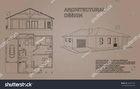 house perspective with floor plan perspective 3d floor plan cross section stock vector 564631435