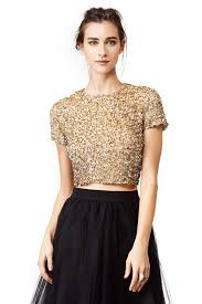 new years tops this gold dust crop top by badgley mischka for