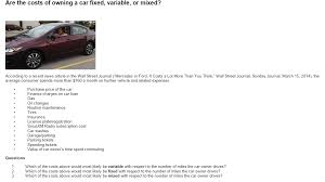 average maintenance cost for mercedes are the costs of owning a car fixed variable or chegg com