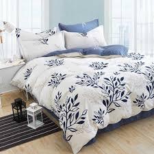 Olive Bedding Sets Blue Olive Leaf Print Bed Linen Set Striped Bedding Sets Modern