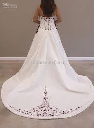 wedding dresses with purple detail discount white scoop neckline burgundy embroidery satin lace