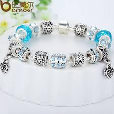 murano glass beads bracelet silver images Bamoer hot sell european style silver crystal charm bracelet for jpg