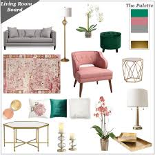 living room inspiration board in pink grey green and gold