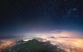 landscape nature starry night mist mountain city lights