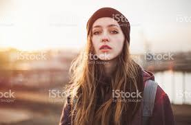 hipster girl portrait of a hipster girl at sunset stock photo more pictures of
