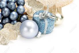 blue gold and silver christmas decorations on white background