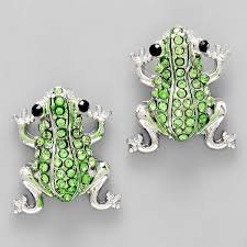 green earrings b green frog stud earrings b