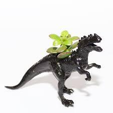 ceratosaurus dinosaur planter with plant by dingading terrariums