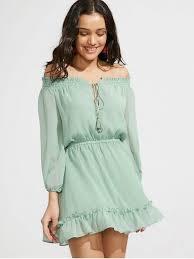 light green dress with sleeves ruffle hem off the shoulder dress light green casual dresses s zaful