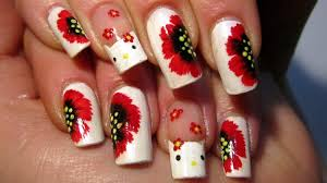 hello kitty and red one stroke flowers nail art design tutorial