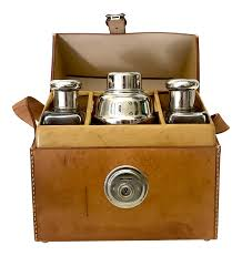 gently used vintage shaker decor for sale at chairish german flask shaker set leather case