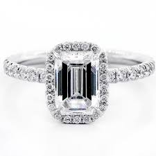 engagement rings emerald cut white gold 1 82 cts emerald cut diamond with halo set in platinum