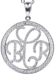 Monogrammed Necklace Sterling Silver Jane Basch Sterling Silver U0026 Diamond Monogram Pendant Necklace