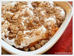 jam sweet potato casserole with marshmallow pecan streusel