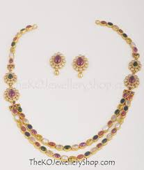 gold plated silver necklace images The navarathnalu silver necklace 2 layers ko jewellery jpg