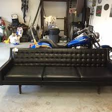 Black Leather Mid Century Sofa Show Tell Antique And Vintage Furniture Collectors Weekly