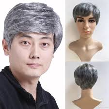 gray hair pieces for american fashion men handsome short hair gray wig synthetic hair wigs for