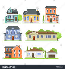 cute colorful flat style house village stock vector 602581193