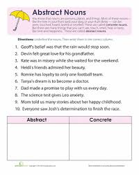 what are abstract nouns abstract nouns abstract and worksheets