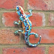 multi coloured mosaic resin lizard garden ornament suitable to be