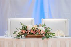 Table Flowers by Peach And Pink Rustic Wood Box Sweetheart Table Flowers Head